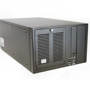 "Black industrial 6-slot shoebox with 1x 5.25"" External; 1x 3.5"" External; 1x 3.5"" Internal drive bays"